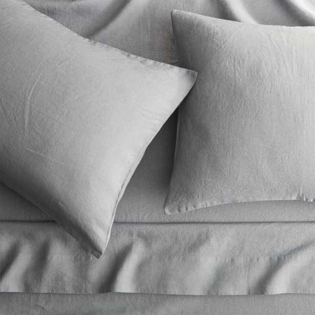 linen cement queen sheet set - CB2