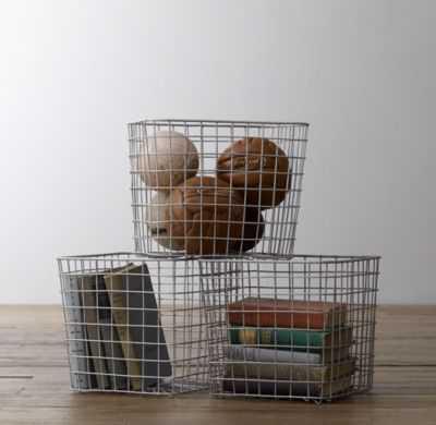 industrial shelf basket - RH Baby & Child