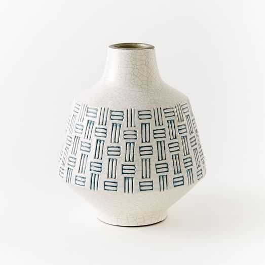 Basketweave Ceramic Medium Vase - Blue - West Elm