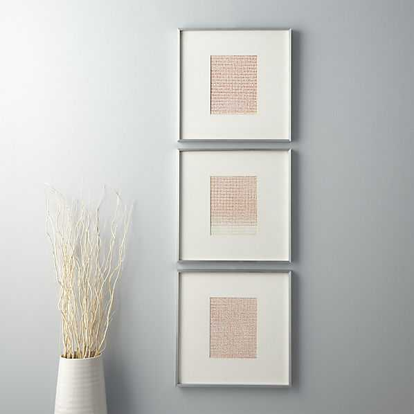 """Set of 3 confetti prints - 8.5""""Wx11""""H - Silver Frame with Mat - CB2"""