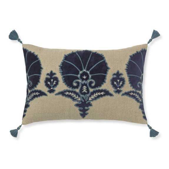 Ottoman Floral Velvet Applique Pillow Cover - 14x22, Blue - No Insert - Williams Sonoma Home