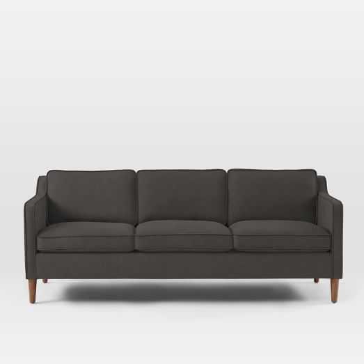 """Hamilton Upholstered Sofa - 81"""", Brushed Heathered Cotton, Caviar - West Elm"""
