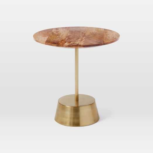 Maisie Side Table - Short, Raw Mango/Antique Brass - West Elm