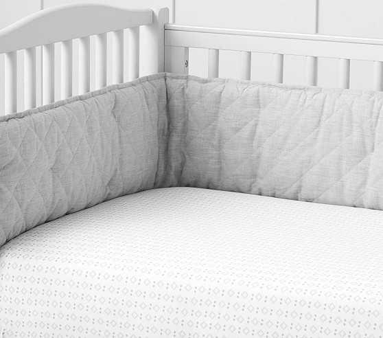 Baby Geo Sateen Crib Fitted Sheet-Gray - Pottery Barn Kids