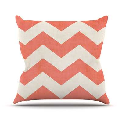 "Vintage Coral by Ann Barnes Chevron Throw Pillow - 18"" - insert - Wayfair"