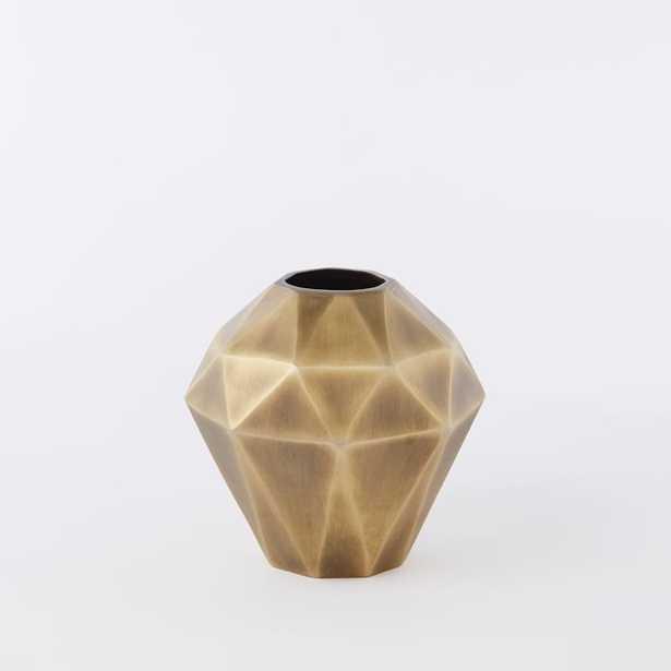 Faceted Metal Vase- Wide - West Elm