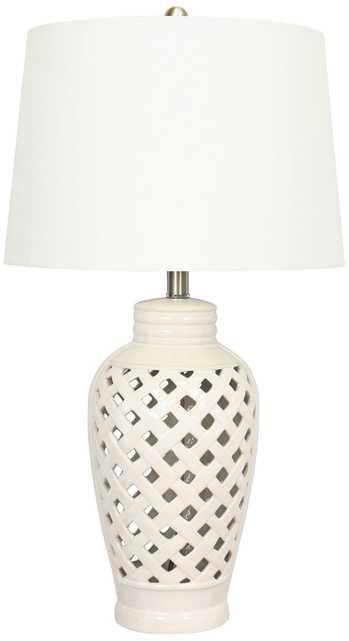 Kathleen White Lattice Ceramic Table Lamp - Lamps Plus