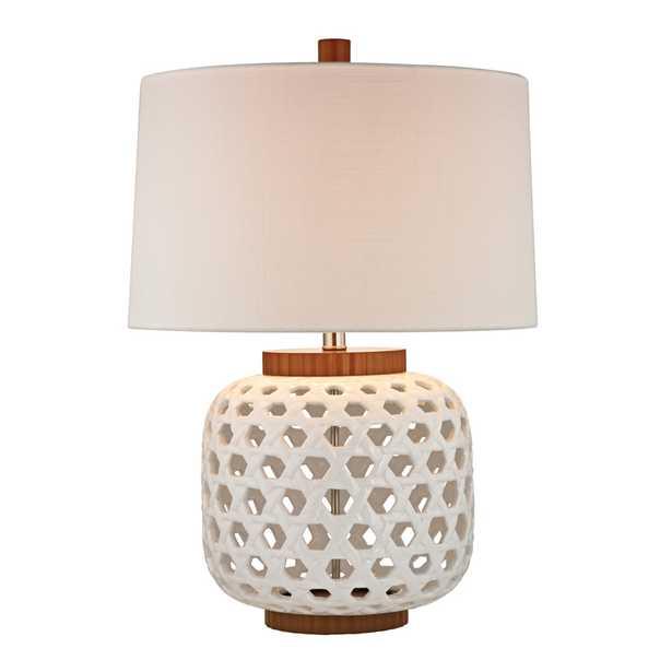 Woven Ceramic Table Lamp In White And Wood Tone - Rosen Studio