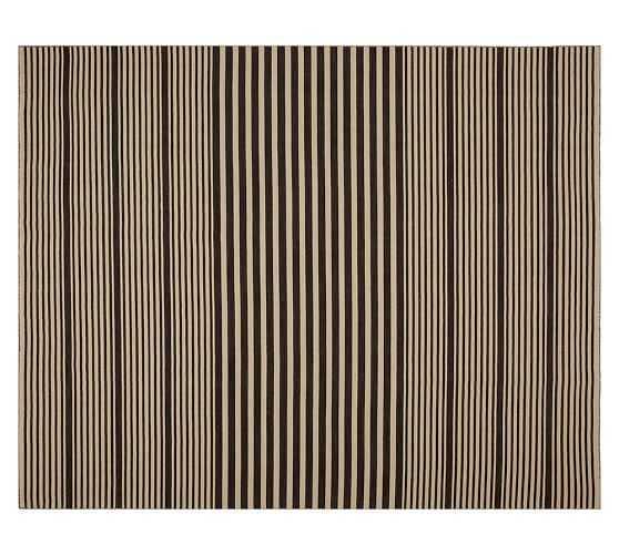 Kyle Stripe Hand-Loomed Rug - Black - Pottery Barn