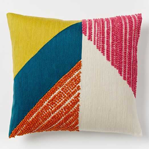 """Angled Crewel Pillow Cover, Multi - 16""""sq. - Insert sold separately - West Elm"""