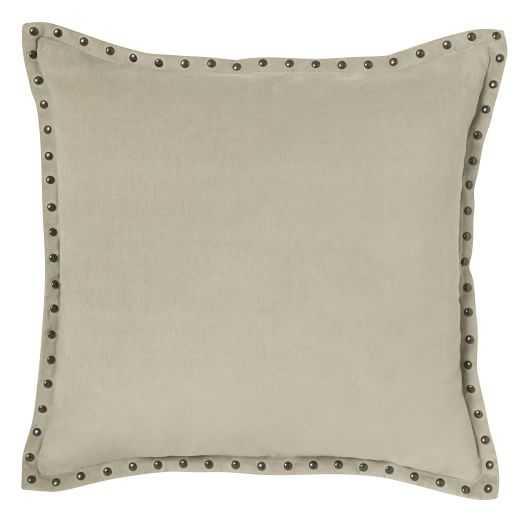 "Studded Velvet Pillow Cover - Putty (20"" Sq.)- Insert Sold Separately - West Elm"