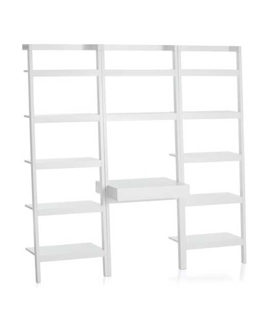 """Sawyer White Leaning Desk with Two 24.5"""" Bookcases - Crate and Barrel"""
