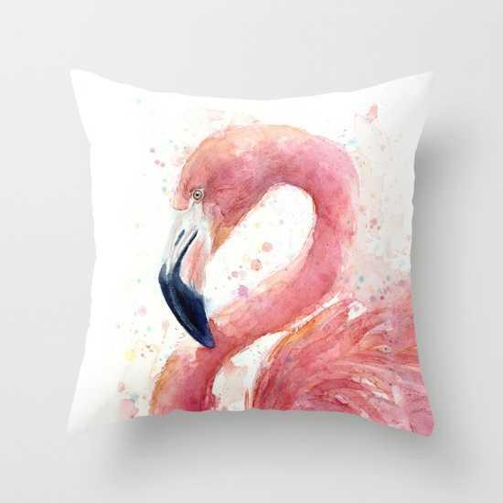 Pink Flamingo Watercolor - Society6