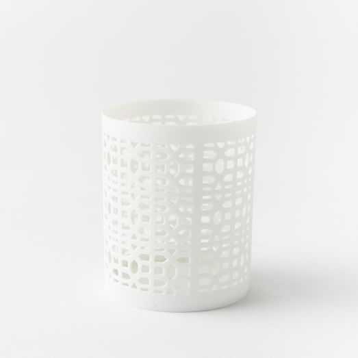Pierced Porcelain Tealights - Hexagon - West Elm