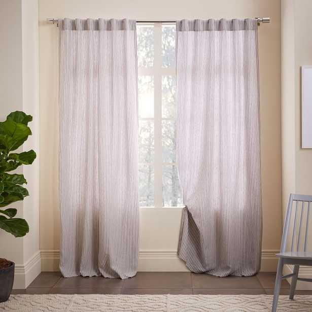 "Striped Belgian Flax Linen Curtain - 96""L x 48""W - West Elm"