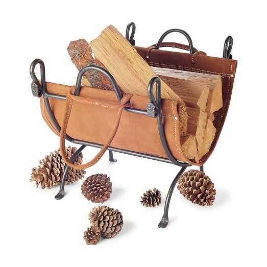 Iron + Leather Folding Log Carrier - West Elm