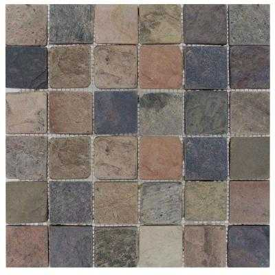 Mixed Color 12 in. x 12 in. x 10 mm Tumbled Slate Mesh-Mounted Mosaic Tile - Home Depot
