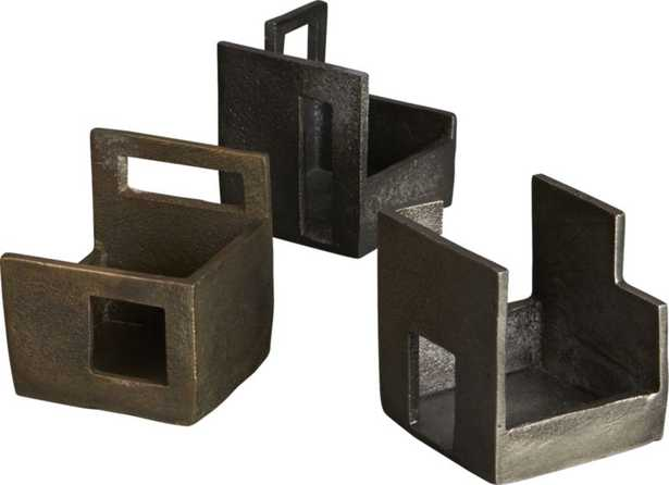 Set of 3 deconstructed tea light candle holders - CB2