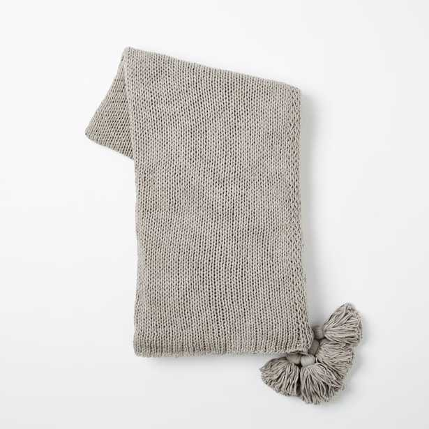 Cotton Tassel Throw - Platinum - West Elm