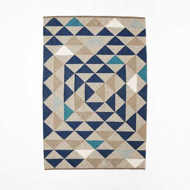 Framed Triangles Wool Kilim Rug - 5x8 - West Elm