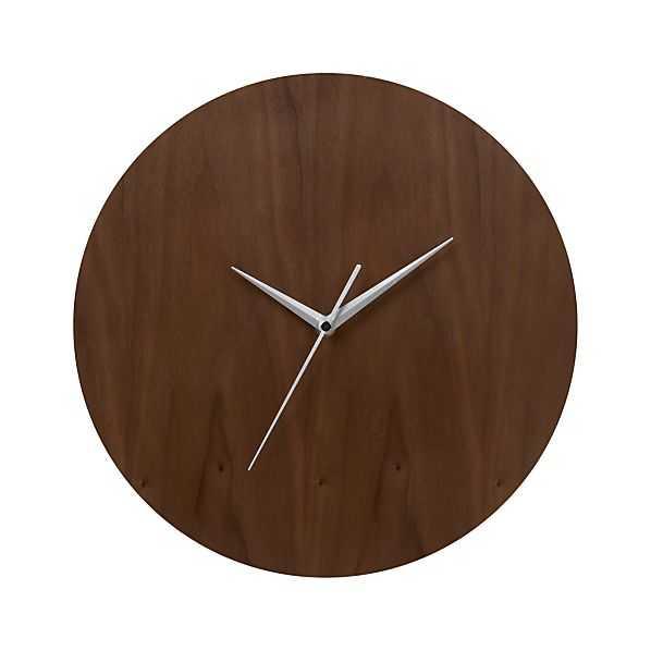 """Walnut 13"""" Wall Clock - Crate and Barrel"""