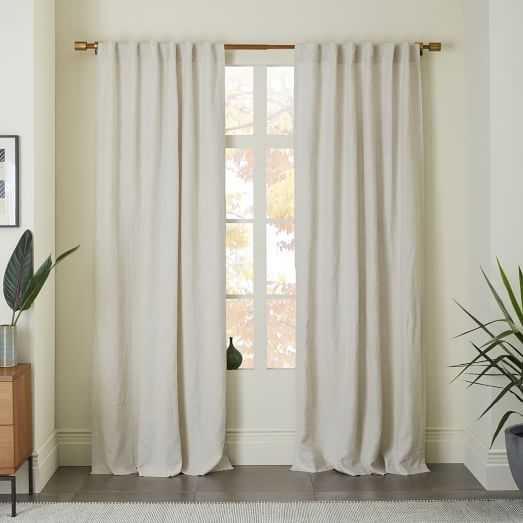 """Belgian Flax Linen Curtain - Natural - 96""""-Blackout Lining - West Elm"""