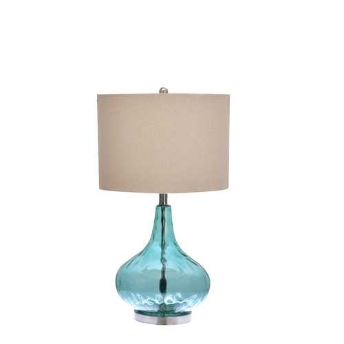 """3-Way Glass Gourd 25.5"""" H Table Lamp with Drum Shade - Bulb included - Wayfair"""