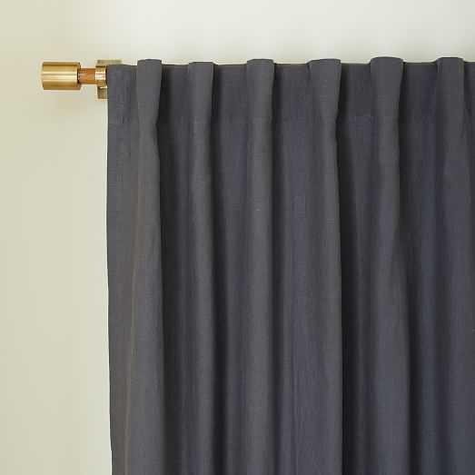 Belgian Linen Curtain - Blackout lining - Slate - West Elm