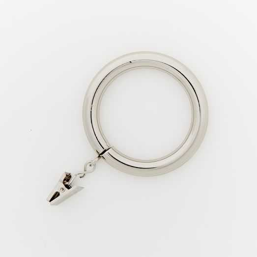 Round Metal Curtain Rings - Polished Nickel-Oversized - West Elm