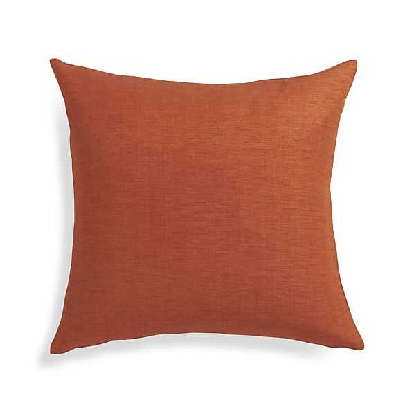 Linden Pillow - 18x18, Copper orange, Down Insert - Crate and Barrel