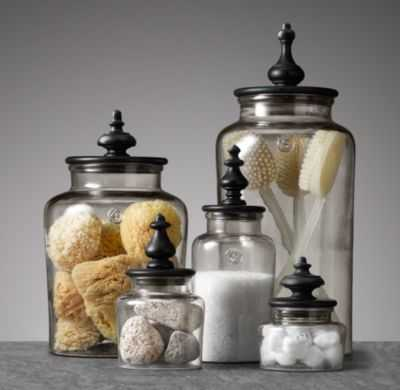 TURNED FINIAL GLASS JAR COLLECTION-Small - RH