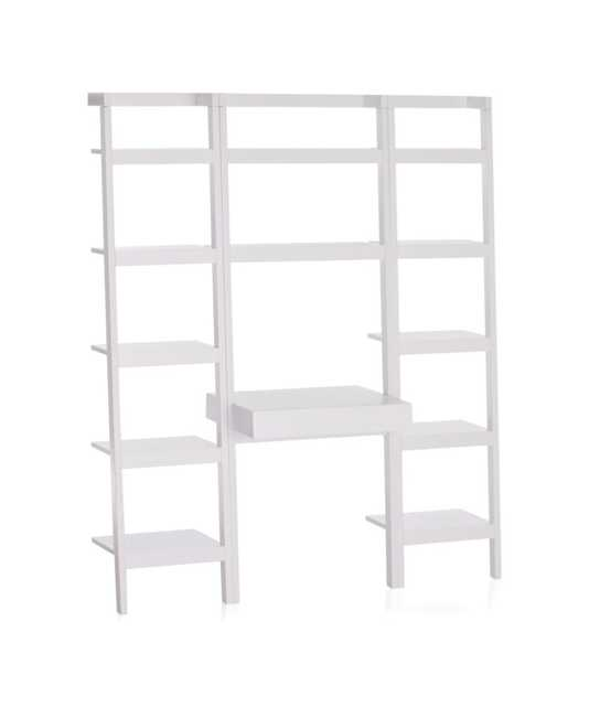 """Sawyer White Leaning Desk with Two 18"""" Bookcases - Crate and Barrel"""