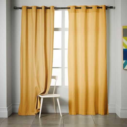 """Linen Cotton Grommet Curtain - Horseradish - 96""""l x 48""""w - West Elm"""