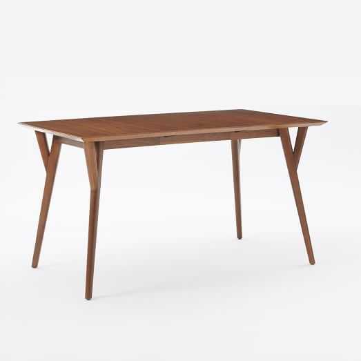 Mid-Century Expandable Dining Table - Walnut, Medium - West Elm
