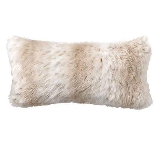 """Faux Fur Pillow Cover - 12"""" X 24"""" Lumbar -Light Fox-No Insert - Pottery Barn"""