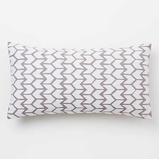 """Coyuchi Embroidered Arrow Pillow Cover- 14""""w x 26""""l - Insert sold separately - West Elm"""