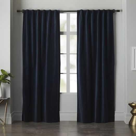 """Velvet Pole Pocket Curtain - Regal Blue- Set of 2(Unlined) - 96""""l x 48""""w - West Elm"""