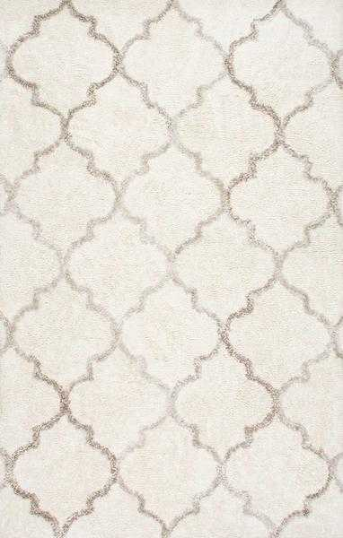 """Handmade Moroccan Vanna Trellis Shag Rug, Cream, 7'6"""" x 9'6"""" - Loom 23"""