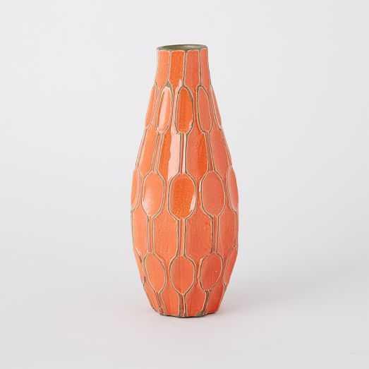 Linework Vases – Honeycomb - Tall Teardrop Vase - Orange - West Elm