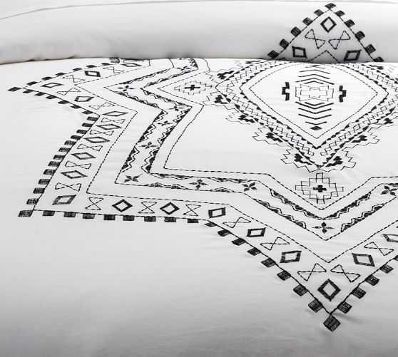 Ricki Embroidered Duvet Cover - King - Pottery Barn