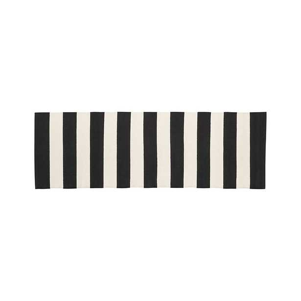 Olin Black Striped Cotton Dhurrie 2'x6' Rug Runner - Crate and Barrel