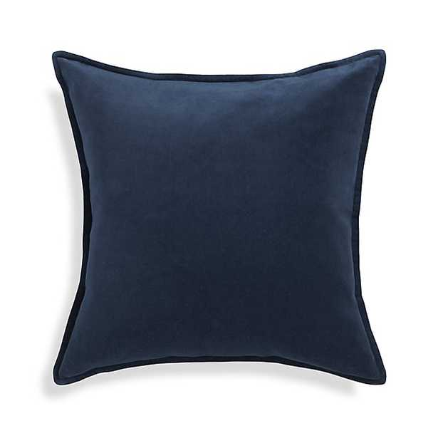 Brenner Blue Velvet Pillow - Indigo - 20x20 - With Insert - Crate and Barrel