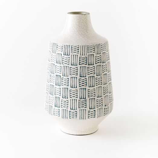 Basketweave Ceramic Large Vase - Blue - West Elm