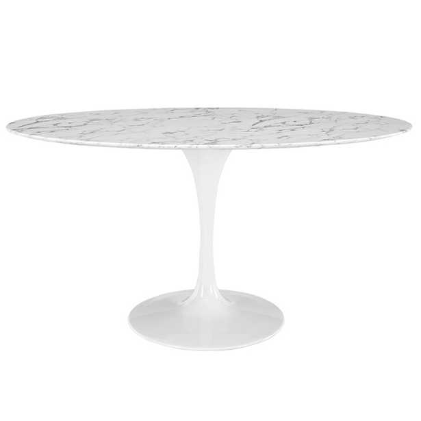 LIPPA OVAL-SHAPED ARTIFICIAL MARBLE DINING TABLE - Modway Furniture