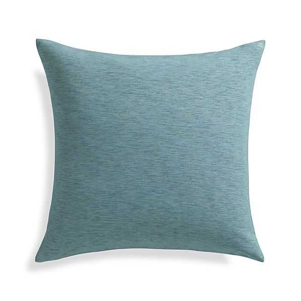 """Linden Ocean Blue 18"""" Pillow with Feather-Down Insert - Crate and Barrel"""
