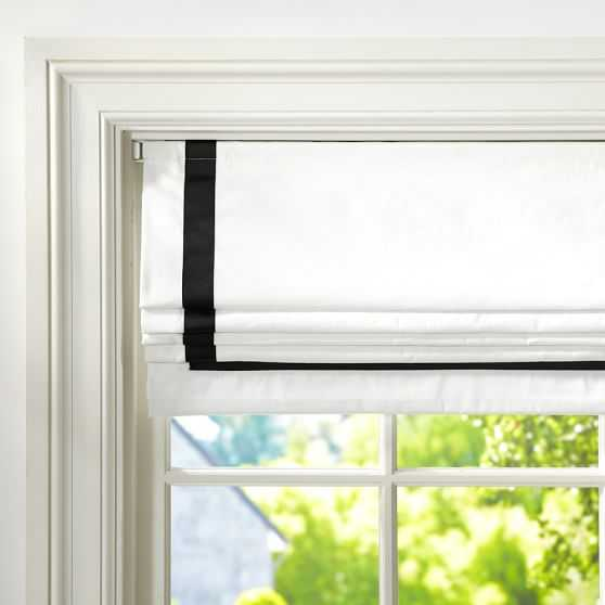 """Suite Ribbon Cordless Roman Shade With Blackout Lining - Black, 44"""" x 64"""" - Pottery Barn Teen"""