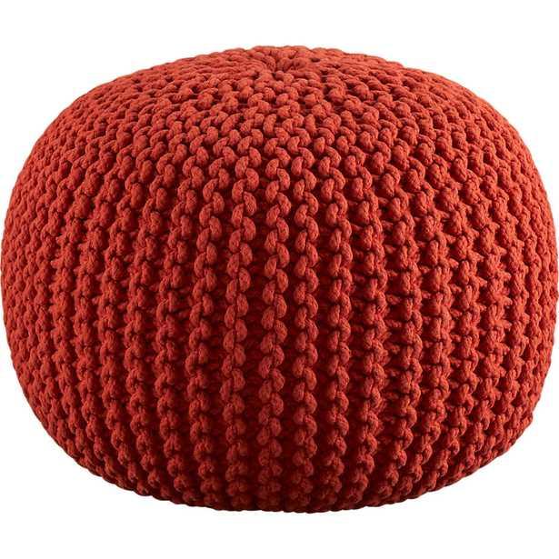 Knitted blood orange pouf - CB2