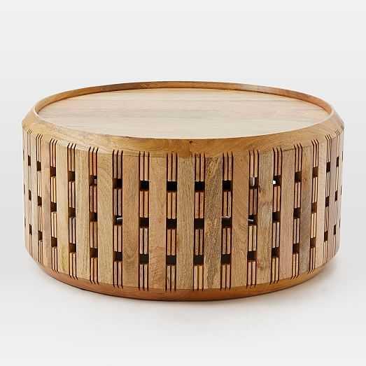 Pierced Wood Drum Coffee Table - West Elm