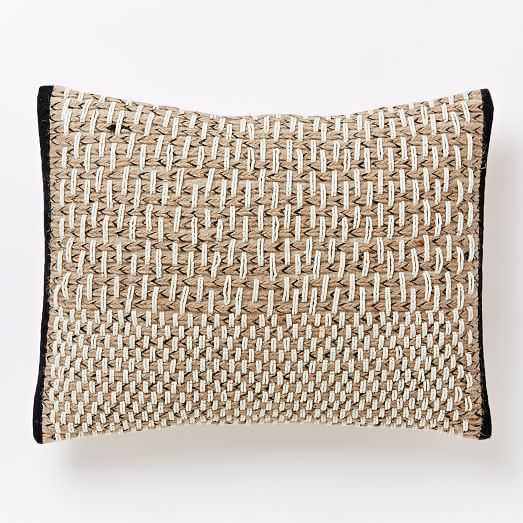 """Basketweave Pillow Cover- Slate - 12"""" x 16"""" - Insert Sold Separately - West Elm"""