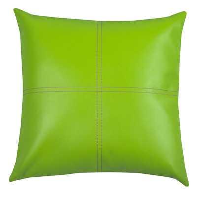 "Urban Loft Fun Faux Leather Polyester Throw Pillow - 18"" H x 18"" W x 5"" D - with insert - Wayfair"